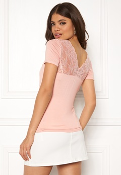 ONLY Vic S/S Deep Backlace Top Rose Smoke Bubbleroom.eu