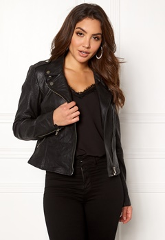 VILA Becky Leather Jacket/TB Black Bubbleroom.eu