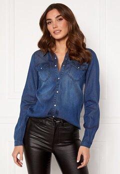 VILA Bista Denim Shirt Dark Blue Denim Bubbleroom.eu