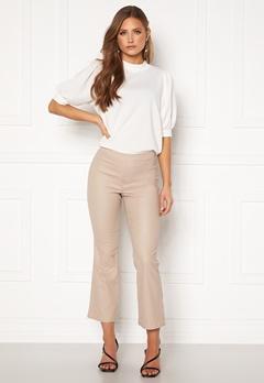 VILA Commit Coated HWSL Cropped Pants Simply Taupe Bubbleroom.eu