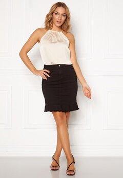 VILA Commit Peplum Denim Skirt Black Bubbleroom.eu