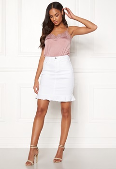 VILA Commit Peplum Denim Skirt White Alyssum Bubbleroom.eu