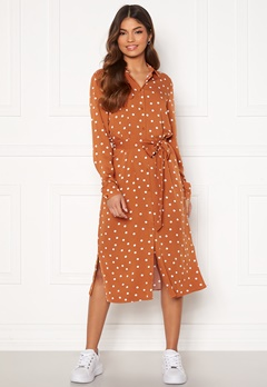 VILA Dania Belt Shirt Dress Adobe Donia Dot Bubbleroom.eu