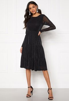 VILA Davis L/S Glitter Dress Black Bubbleroom.eu