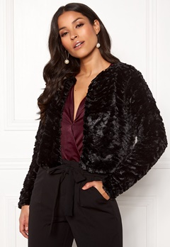 VILA Fury L/S Faux Fur Jacket Black Bubbleroom.eu