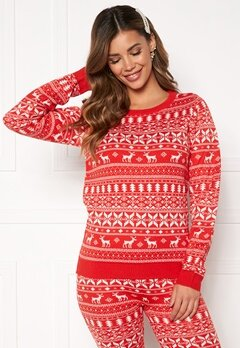 VILA Kosi L/ Knit Top Racing red Bubbleroom.eu