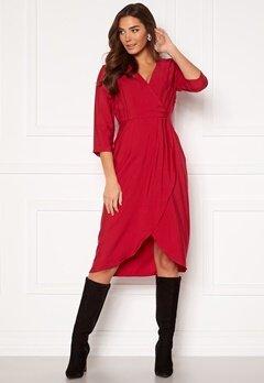 VILA Kri 3/4 Wrap Dress Jetser Red Bubbleroom.eu