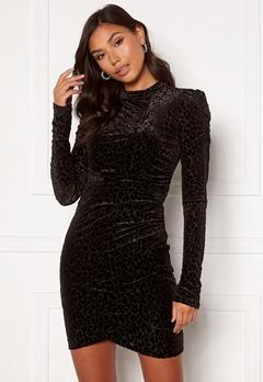 VILA Leopanda L/S Dress Black, Detail: Leo Bubbleroom.eu