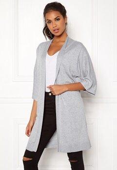 VILA Lesly 3/4 Sleeve Knit Cardigan Light Grey Melange Bubbleroom.eu