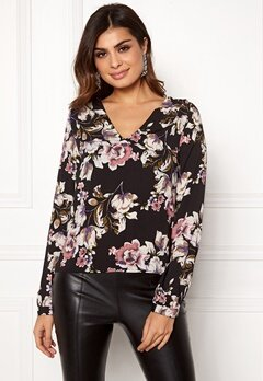 VILA Lienna V-Neck Top Black W.Flower Print Bubbleroom.eu