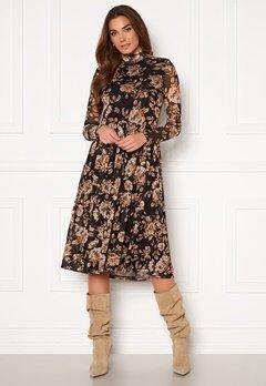 VILA Lomasi L/S Midi Dress Black AOP Flower Bubbleroom.eu