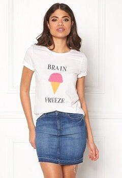 VILA Lovina New T-Shirt White Print Brain Bubbleroom.eu