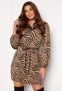 VILA Malas L/S Shirt Dress Dusty Camel W Zebra Bubbleroom.eu