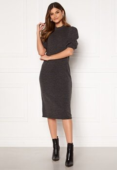 VILA Many 2/4 Sleeve Medi Dress Dark Grey Melange Bubbleroom.eu