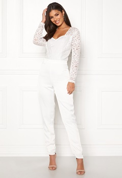 VILA Milena L/S Jumpsuit Cloud Dancer Bubbleroom.eu