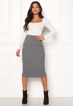 VILA Oliv Knit Pencil Skirt Medium Grey Melange Bubbleroom.eu