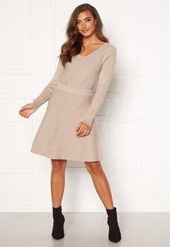 VILA Plisana Knit HW Skirt Natural Melange Bubbleroom.eu