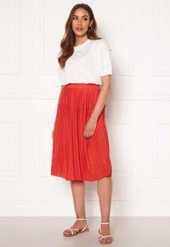 VILA Pliss Midi Skirt Flame Scarlet Bubbleroom.eu