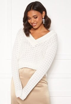 VILA Ril Knit L/S V-neck Top Whisper White Bubbleroom.eu