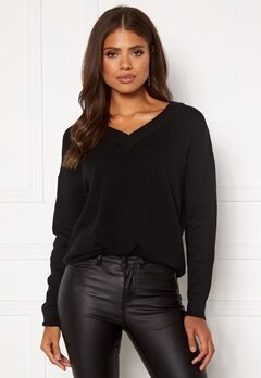 VILA Ril Knit V-Neck Top Black Bubbleroom.eu