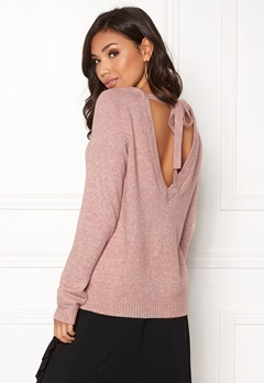 VILA Ril Open Back Knit Top Ash Rose / Melange Bubbleroom.eu