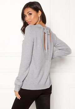 VILA Ril Open Back Knit Top Light Grey Melange Bubbleroom.eu