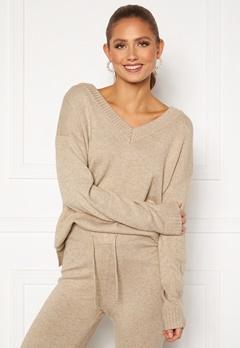 VILA Ril Oversize V-Neck Knit Top Natural Melange Bubbleroom.eu