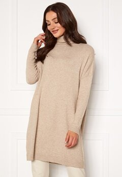 VILA Ril Rollneck L/S Knit Tunic Natural Melange Bubbleroom.eu