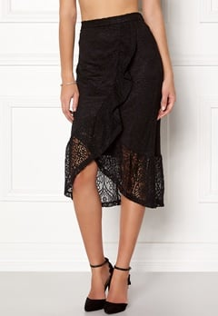 VILA Sepra Flounce Lace Skirt Black Bubbleroom.eu