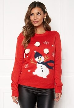 VILA Snowman L/S Knit Top Racing red Bubbleroom.eu