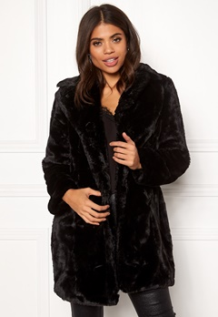 VILA Softa Faux Fur Coat Black Bubbleroom.eu