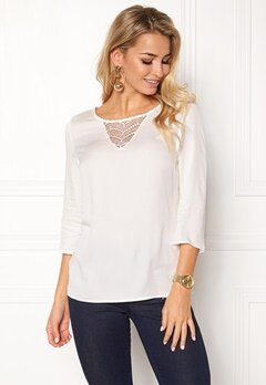 VILA Sommi 3/4 Sleeve Lace Top Snow White Bubbleroom.eu