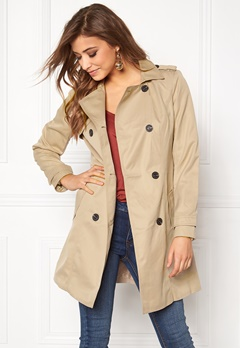 VILA Three Long Trenchcoat Soft Camel Bubbleroom.eu
