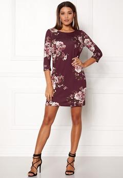 VILA Tinny 3/4 Print Dress Fig Bubbleroom.eu