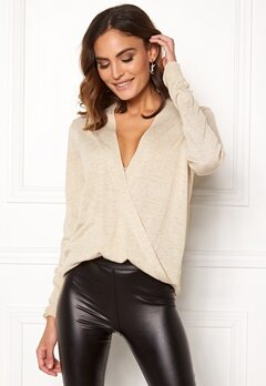 VILA Wendis Wrap Knit Top Natural Melange Bubbleroom.eu