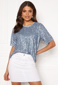 VILA Zamara S/S Top/DC Ashley Blue Bubbleroom.eu