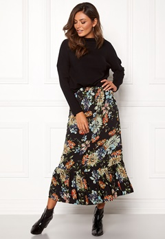 Sisters Point Vota Skirt 001 Black/Flower Bubbleroom.eu