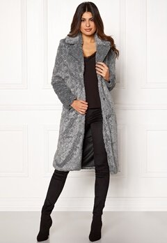 Y.A.S Pala Faux Fur Coat Dark Grey Melange Bubbleroom.eu