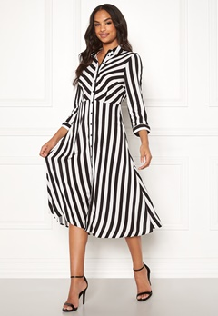 Y.A.S Savanna SS Midi Dress Star White, Stripes Bubbleroom.eu
