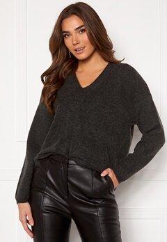 Y.A.S Sellis LS Knit Pullover Dark Grey Melange Bubbleroom.eu