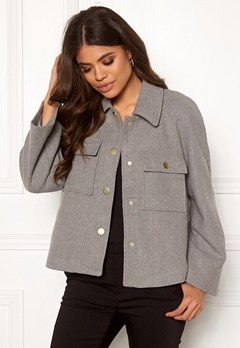 Y.A.S Zoe Wool Jacket Light Grey Melange Bubbleroom.eu