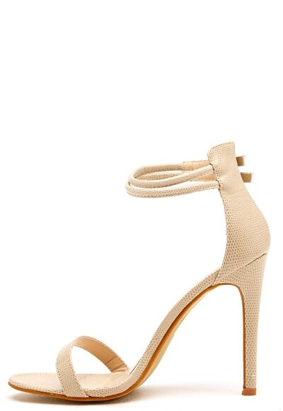 AX Paris Barely There Sandals Nude Snakeskin - Bubbleroom