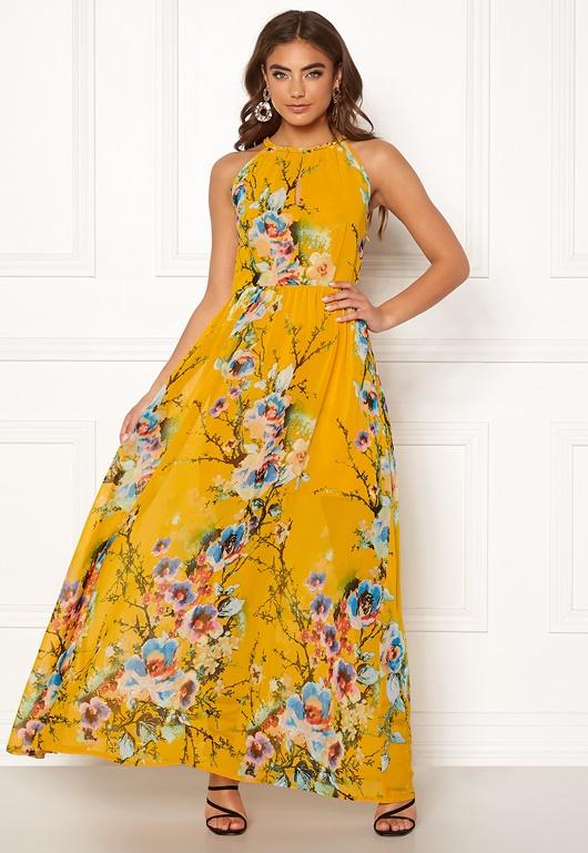 f2a59b7229 Blue Vanilla Floral Keyhole Maxi Dress Orange - Bubbleroom