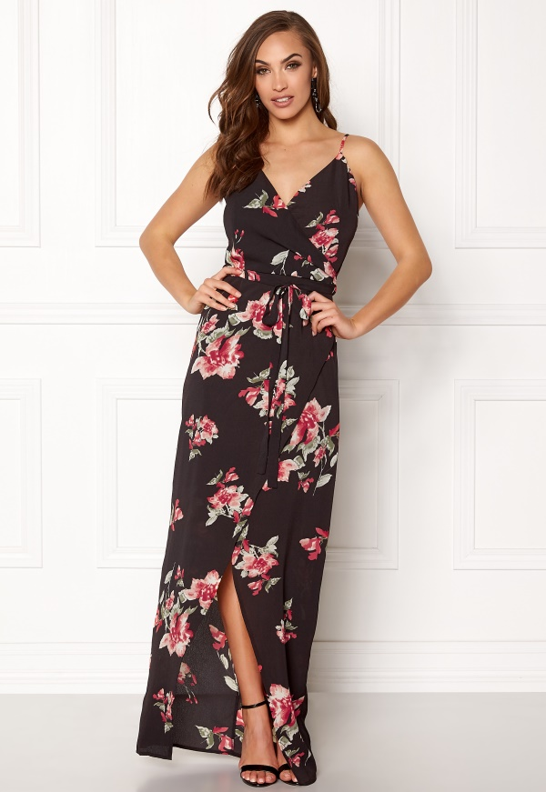 Girl In Mind Mia Floral Wrap Dress Black with Flower ...