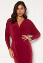 Deep V Batwing Sleeve Midi Dress