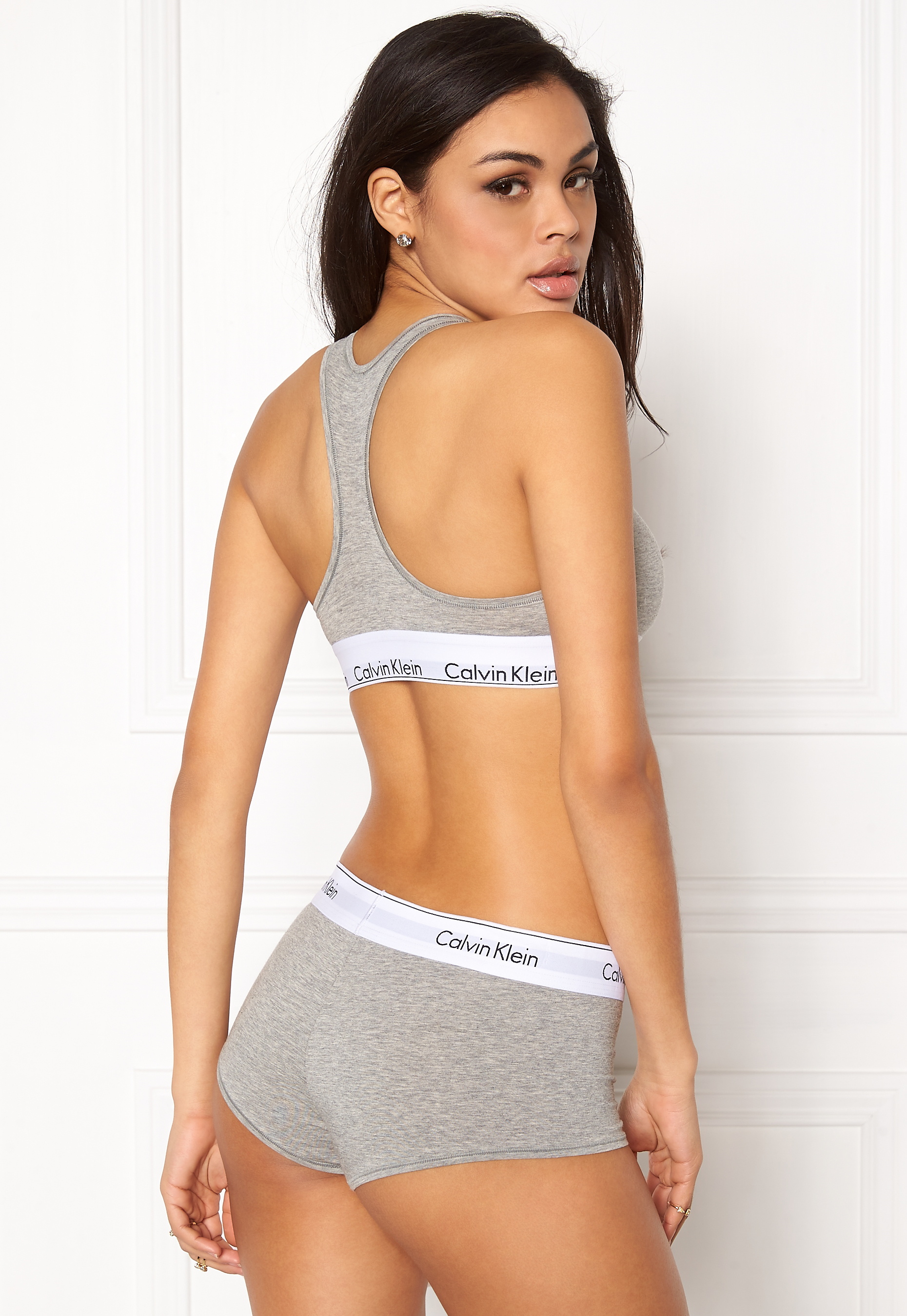 95715a1208 Calvin Klein CK Cotton Boyshort 020 Grey Heather - Bubbleroom