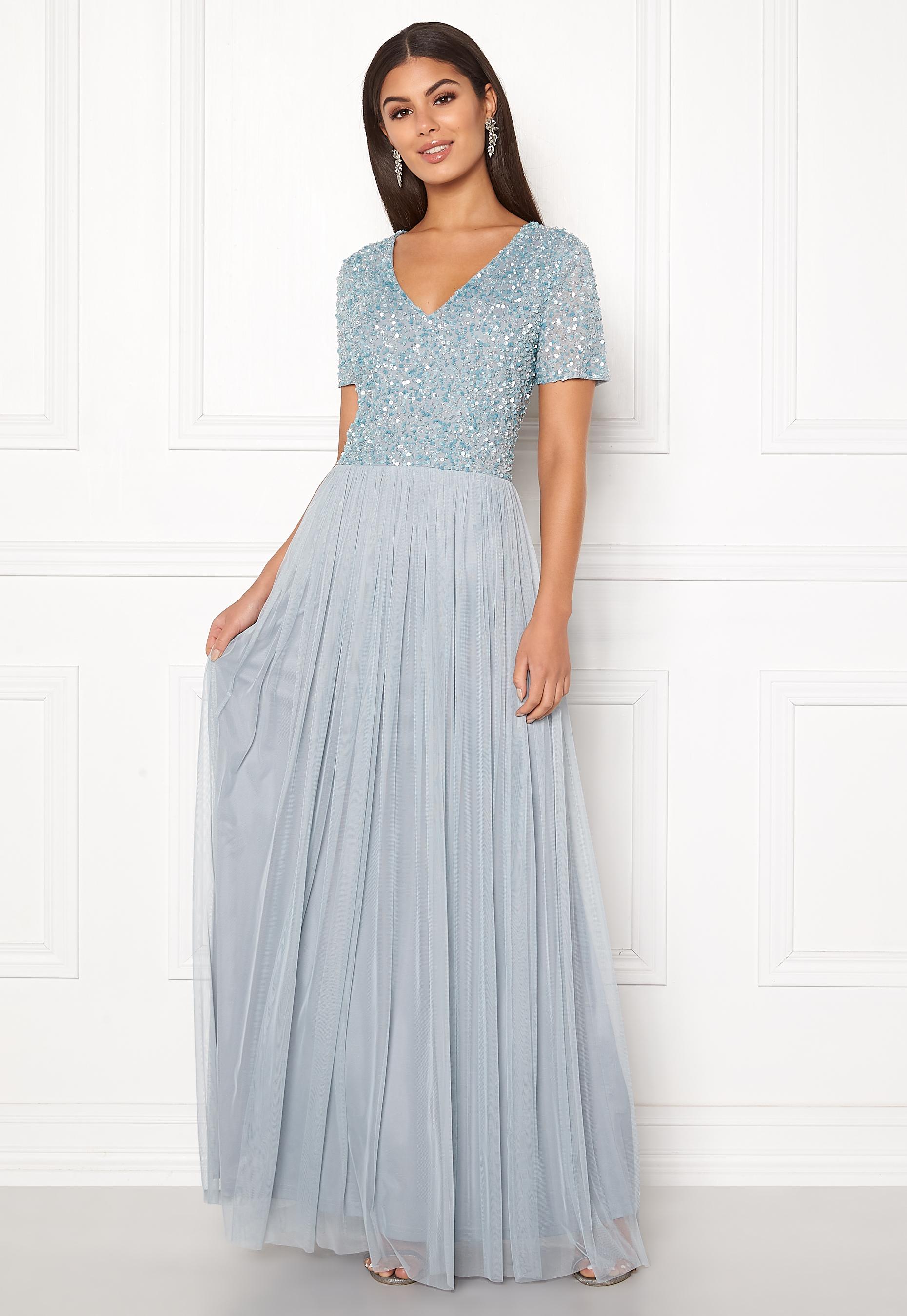 9ec64e0a2fd7 V Neck Tulle Skirt Maxi Dress