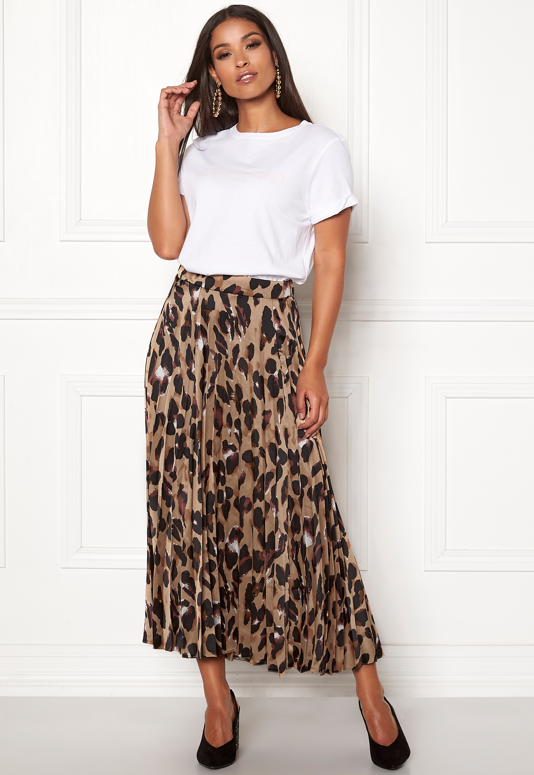 95ef39d8fa26f New Look Animal Pleated Midi Skirt Brown Pattern - Bubbleroom
