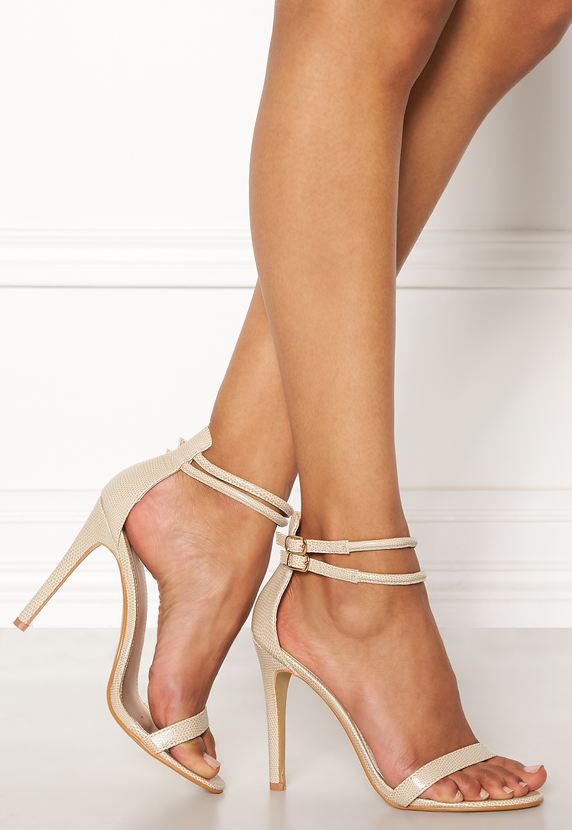 f5963686b3f AX Paris Barely There Sandals Nude Snakeskin - Bubbleroom
