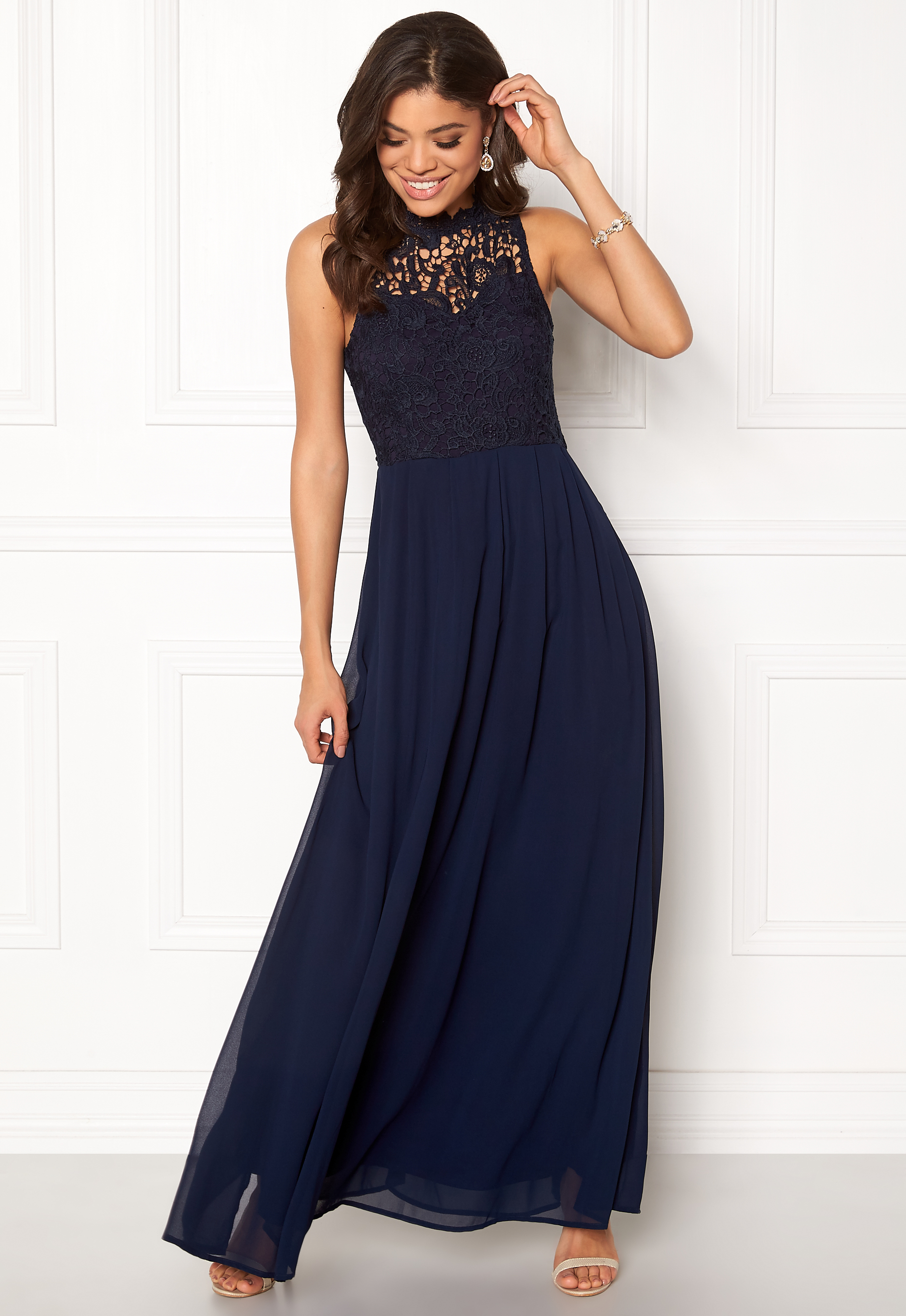 802f3299887 AX Paris Crochet Top Chiffon Maxi Navy - Bubbleroom